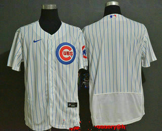 Men's Chicago Cubs Blank White Home Stitched MLB Flex Base Nike Jersey