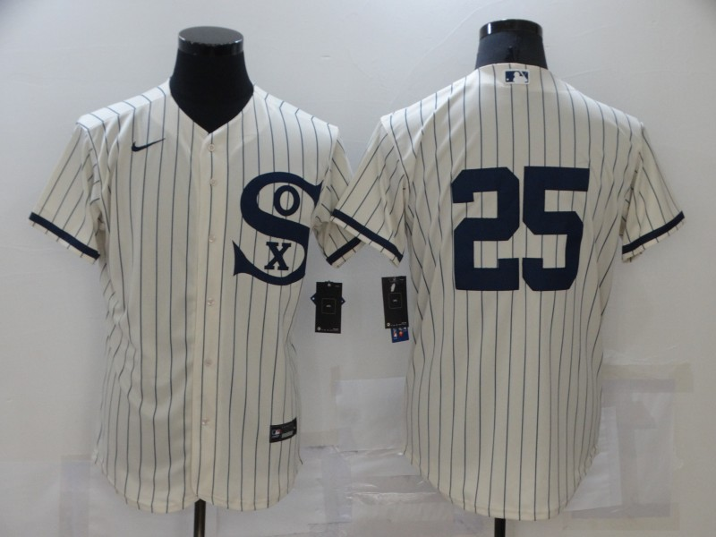 Men's Chicago White Sox #25 Andrew Vaughn 2021 Cream Navy Field of Dreams Flex Base Stitched  Jersey