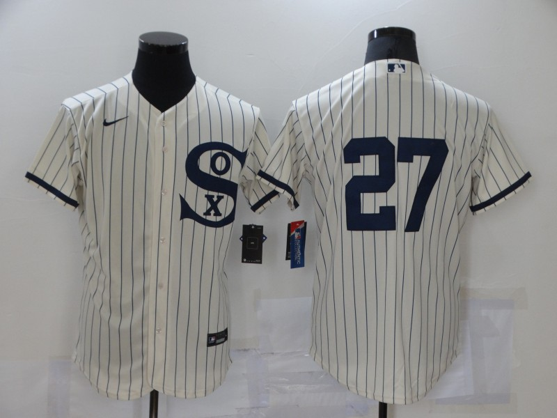 Men's Chicago White Sox #27 Lucas Giolito 2021 Cream Navy Field of Dreams Flex Base Stitched Jersey