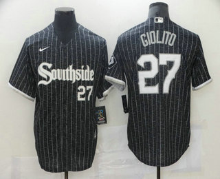 Men's Chicago White Sox #27 Lucas Giolito Black With Small Number 2021 City Connect Stitched MLB Cool Base Nike Jersey