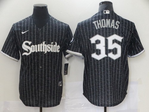 Men's Chicago White Sox #35 Frank Thomas Black 2021 City Connect Stitched MLB Cool Base Nike Jersey