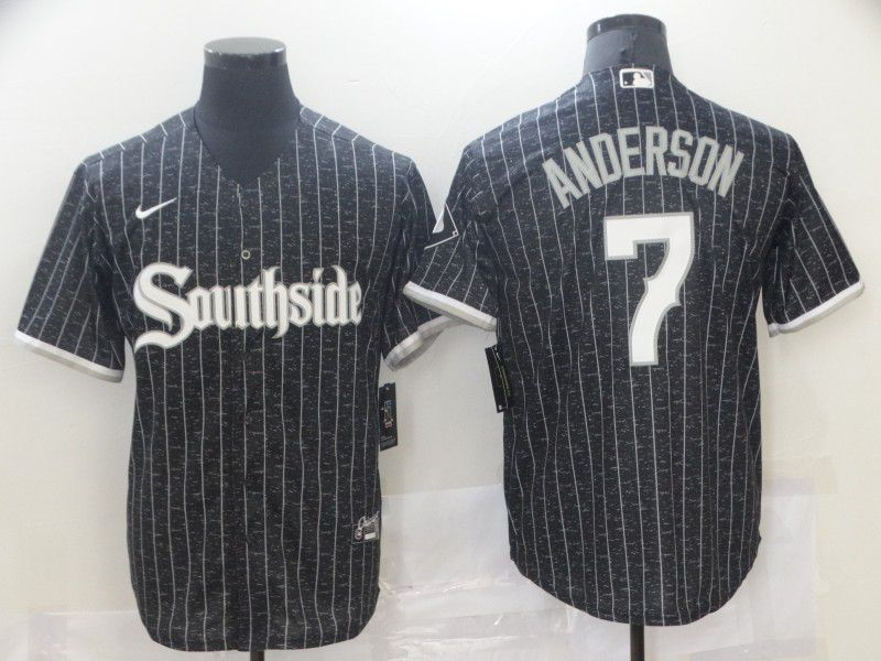 Men's Chicago White Sox #7 Tim Anderson Black 2021 City Connect Stitched MLB Cool Base Nike Jersey