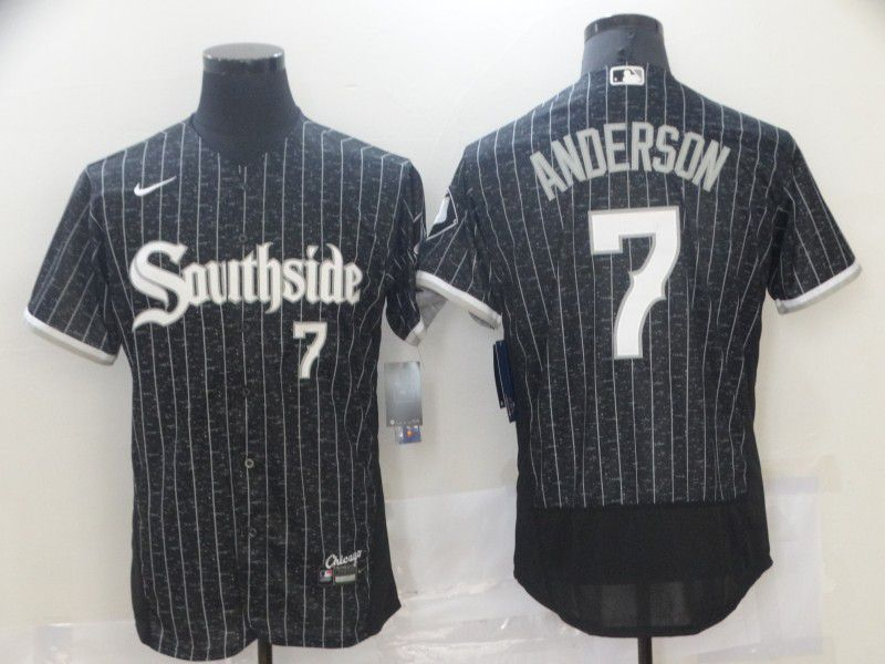 Men's Chicago White Sox #7 Tim Anderson Black 2021 City Connect Stitched MLB Flex Base Nike Jersey