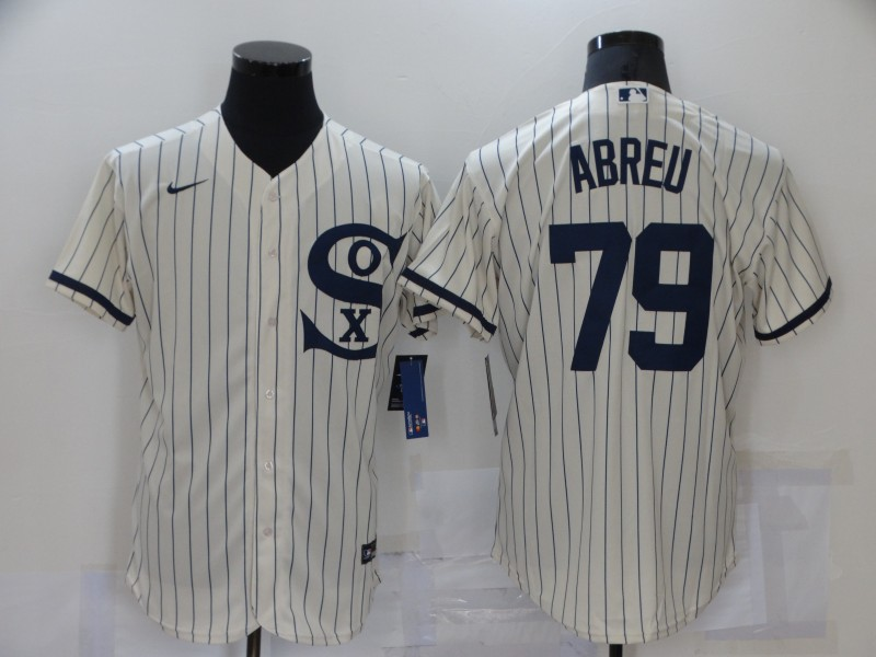 Men's Chicago White Sox #79 Jose Abreu 2021 Cream Field of Dreams Name Cool Base Stitched Nike Jersey