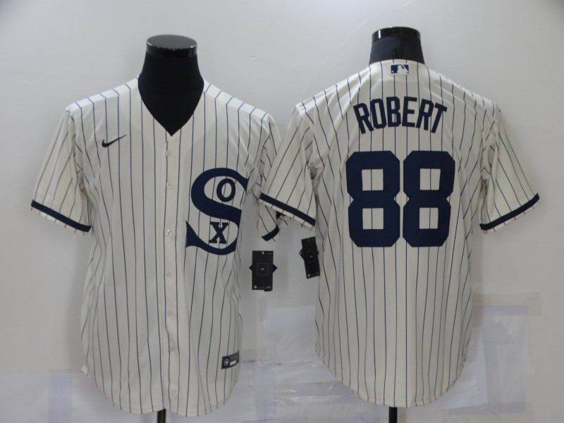 Men's Chicago White Sox #88 Luis Robert 2021 Cream Navy Field of Dreams Name Flex Base Stitched Jersey