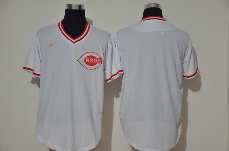 Men's Cincinnati Reds Blank White Throwback Cooperstown Stitched MLB Cool Base Nike Jersey