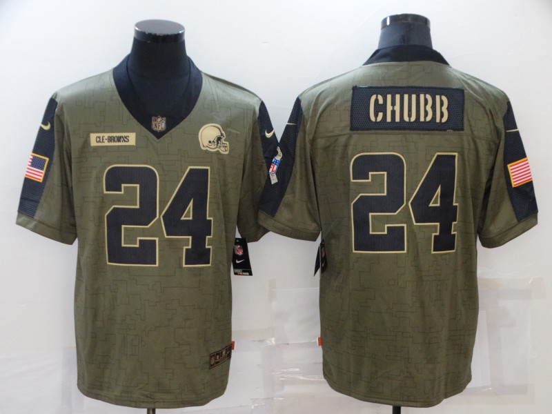 Men's Cleveland Browns #24 Nick Chubb Nike Olive 2021 Salute To Service Limited Player  Jersey