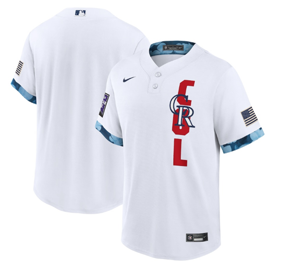 Men's Colorado Rockies Blank 2021 White All-Star Cool Base Stitched MLB Jersey