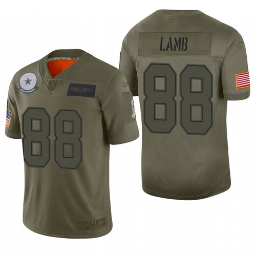 Men's Dallas Cowboys #88 CeeDee Lamb Olive Camo 2019 Salute To Service Stitched NFL Nike Limited Jersey