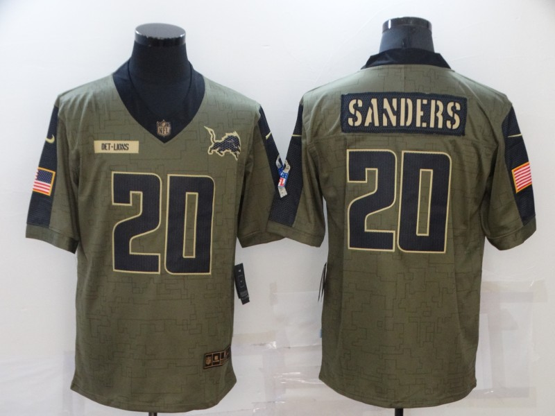 Men's Detroit Lions #20 Barry Sanders Nike Olive 2021 Salute To Service Retired Player Limited  Jersey