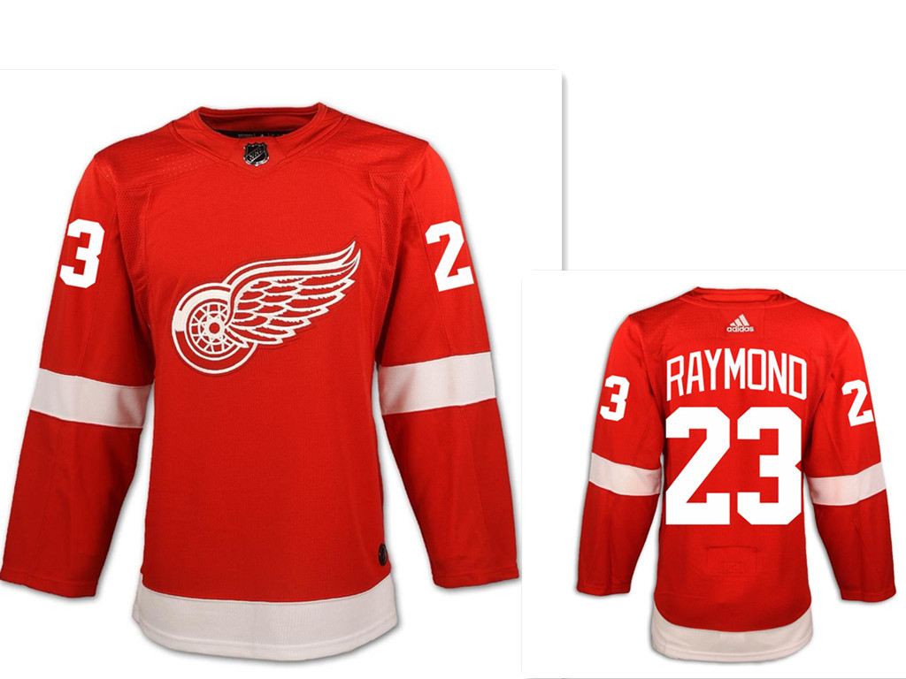 Men's Detroit Red Wings #23 Lucas Raymond Red Home Hockey Stitched NHL Jersey