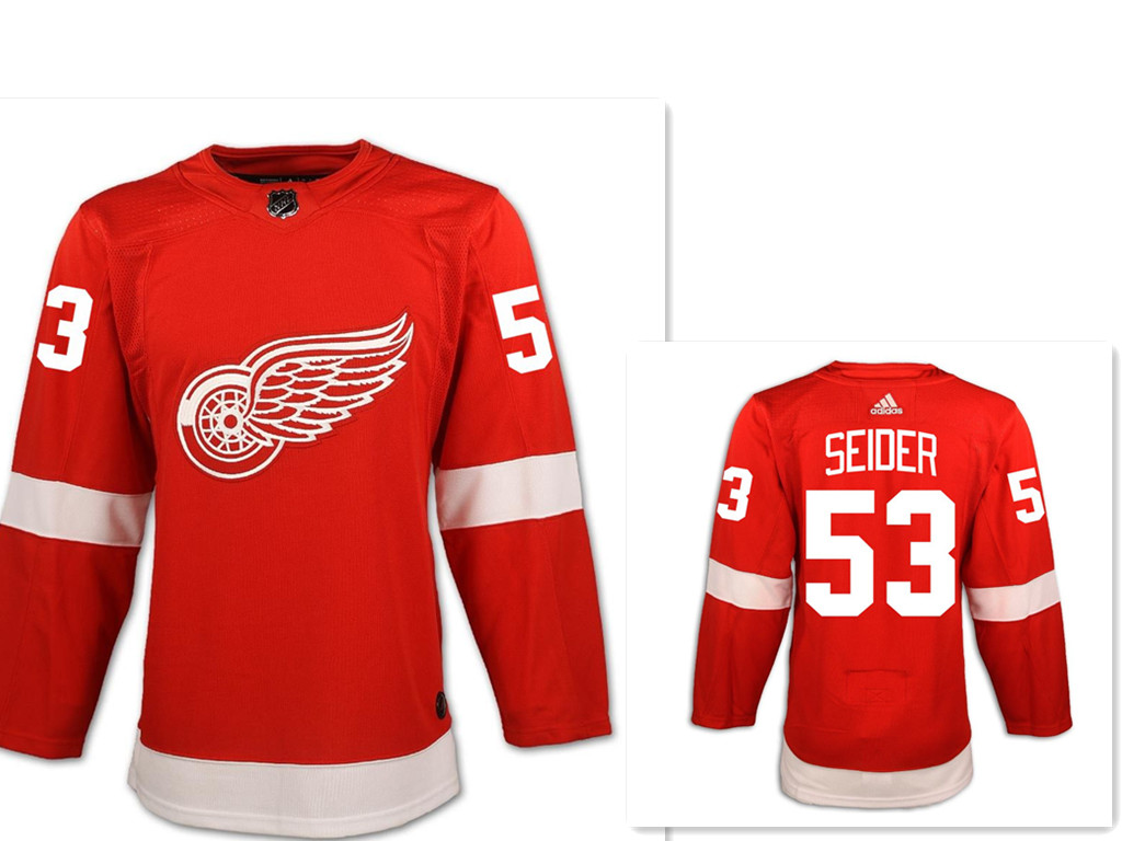 Men's Detroit Red Wings #53 Moritz Seider Red Home Hockey Stitched NHL Jersey