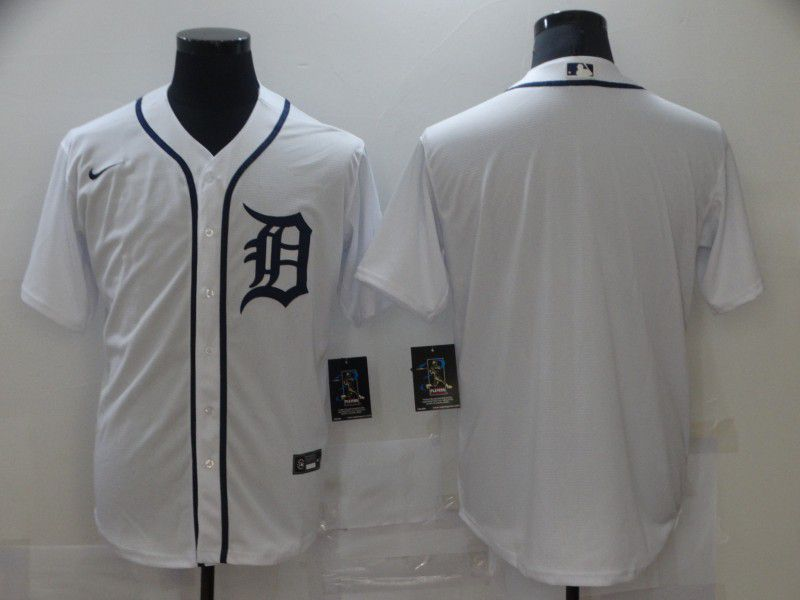 Men's Detroit Tigers Blank White Stitched MLB Cool Base Nike Jersey