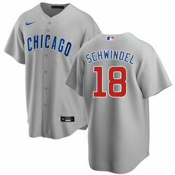 Men's Frank Schwindel Chicago Cubs #18 Gray Road Jersey by Nike
