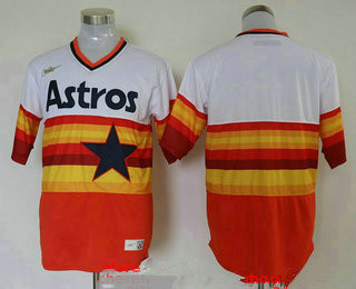 Men's Houston Astros Blank Orange Rainbow Cooperstown Stitched MLB Cool Base Nike Jersey