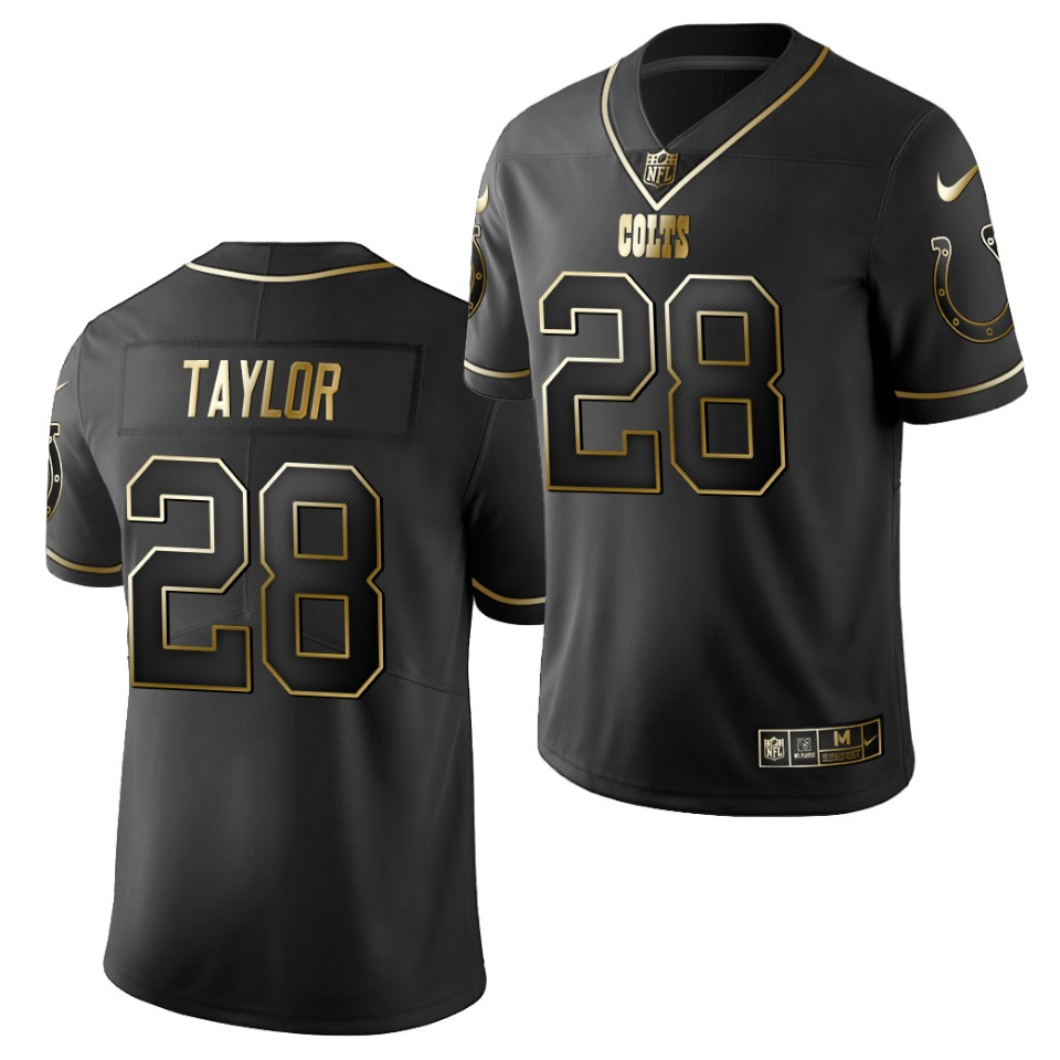 Men's Indianapolis Colts #28 Jonathan Taylor Black 2020 NFL Draft Golden Edition Nike Jersey