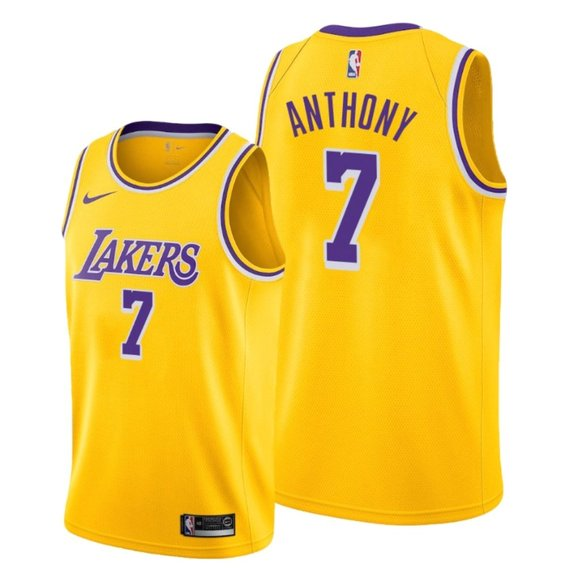 Men's Lakers #7 Carmelo Anthony Gold Jersey