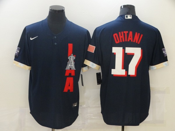 Men's Los Angeles Angels #17 Shohei Ohtani 2021 Navy All-Star Cool Base Stitched MLB Jersey