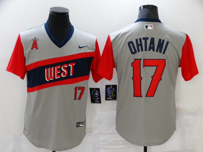 Men's Los Angeles Angels #17 Shohei Ohtani Grey 2021 Little League Classic Stitched Nike Jersey