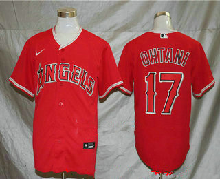 Men's Los Angeles Angels #17 Shohei Ohtani Red Stitched MLB Cool Base Nike Jersey
