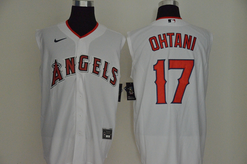 Men's Los Angeles Angels #17 Shohei Ohtani White 2020 Cool and Refreshing Sleeveless Fan Stitched MLB Nike Jersey