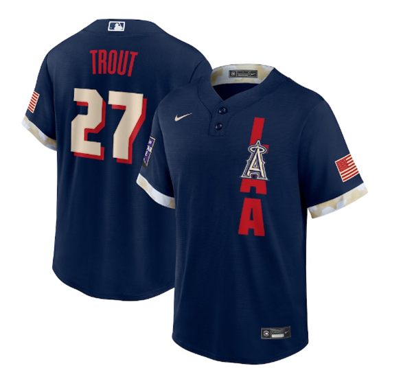 Men's Los Angeles Angels #27 Mike Trout 2021 Navy All-Star Cool Base Stitched MLB Jersey