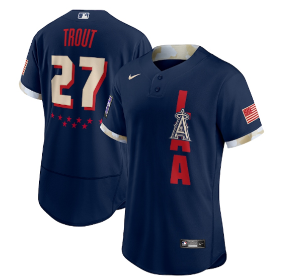 Men's Los Angeles Angels #27 Mike Trout 2021 Navy All-Star Flex Base Stitched MLB Jersey