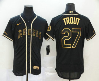 Men's Los Angeles Angels #27 Mike Trout Black With Gold Stitched MLB Flex Base Nike Jersey