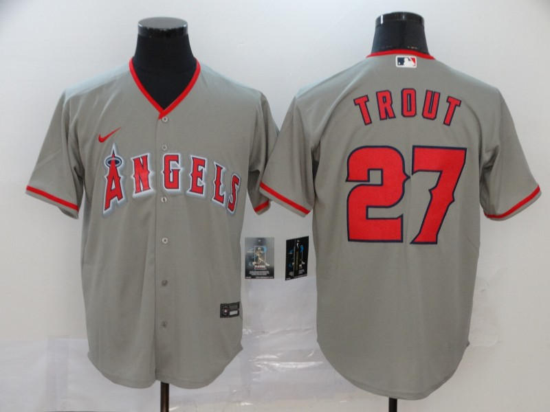 Men's Los Angeles Angels #27 Mike Trout Gray Stitched MLB Cool Base Nike Jersey