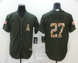 Men's Los Angeles Angels #27 Mike Trout Green Salute To Service Stitched MLB Cool Base Nike Jersey