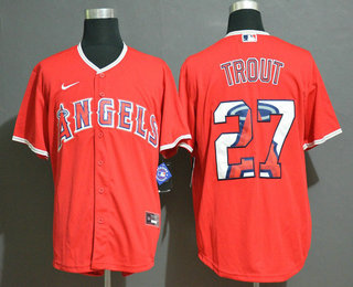 Men's Los Angeles Angels #27 Mike Trout Red Team Logo Stitched MLB Cool Base Nike Jersey