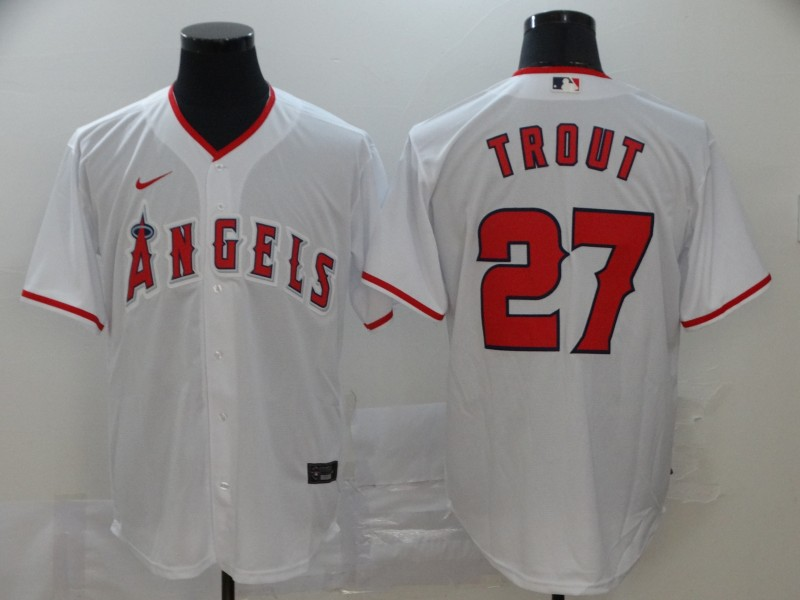 Men's Los Angeles Angels #27 Mike Trout White Stitched MLB Cool Base Nike Jersey