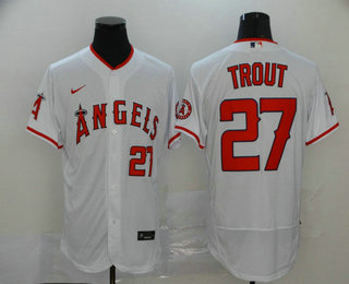 Men's Los Angeles Angels #27 Mike Trout White Stitched MLB Flex Base Nike Jersey