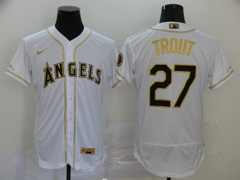 Men's Los Angeles Angels #27 Mike Trout White With Gold Stitched MLB Flex Base Nike Jersey
