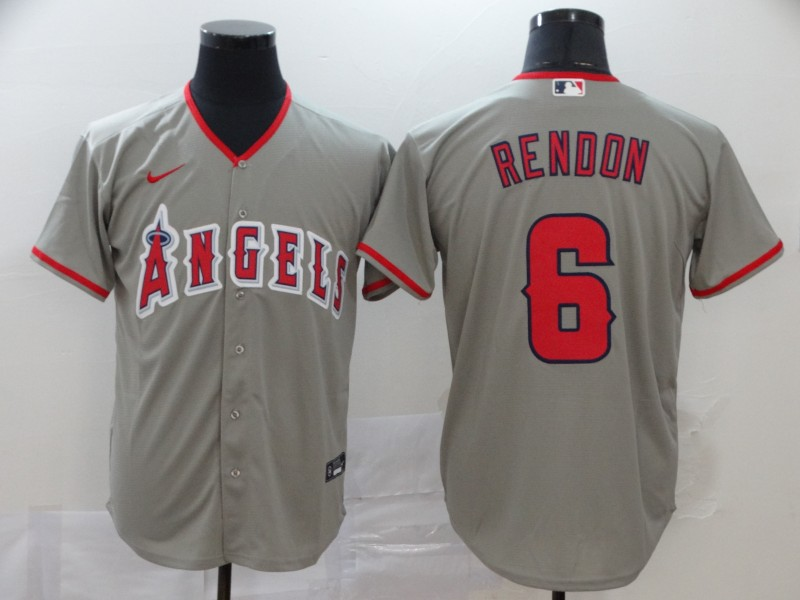 Men's Los Angeles Angels #6 Anthony Rendon Gray Stitched MLB Cool Base Nike Jersey