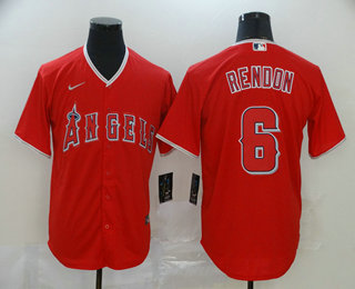 Men's Los Angeles Angels #6 Anthony Rendon Red Stitched MLB Cool Base Nike Jersey