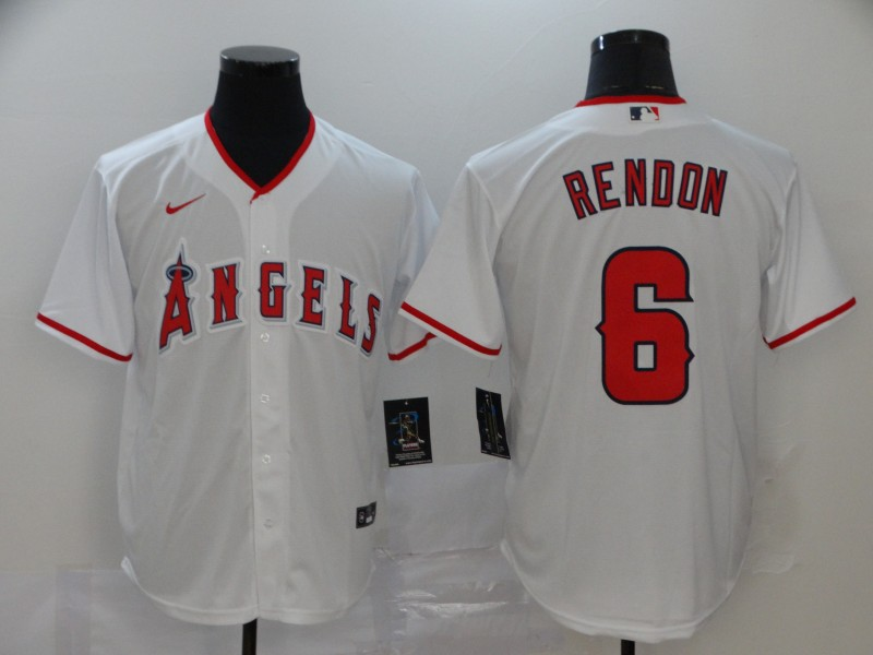 Men's Los Angeles Angels #6 Anthony Rendon White Stitched MLB Cool Base Nike Jersey