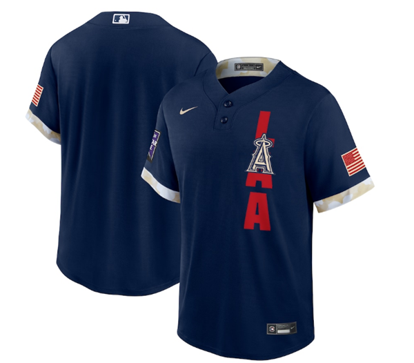 Men's Los Angeles Angels Blank 2021 Navy All-Star Cool Base Stitched MLB Jersey