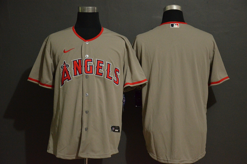 Men's Los Angeles Angels Blank Gray Stitched MLB Cool Base Nike Jersey