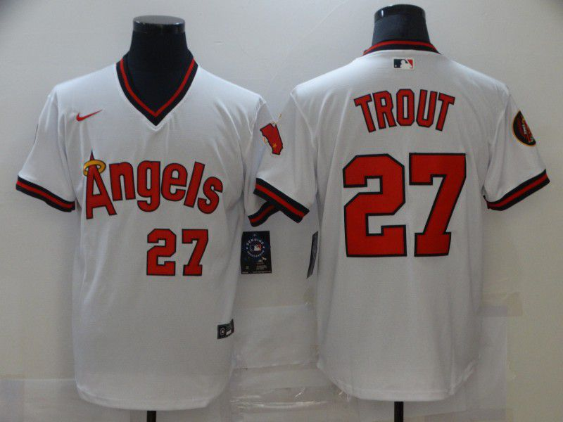 Men's Los Angeles Angels Of Anaheim #27 Mike Trout White Throwback Cooperstown Collection Stitched MLB Nike Jersey