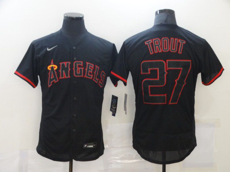 Men's Los Angeles Angels of Anaheim #27 Mike Trout Lights Out Black Fashion Flexbase Nike Jersey