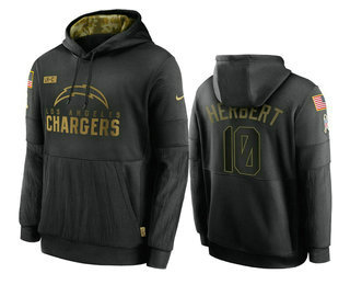 Men's Los Angeles Chargers #10 Justin Herbert Black 2020 Salute To Service Sideline Performance Pullover Hoodie