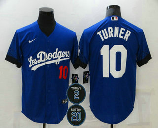 Men's Los Angeles Dodgers #10 Justin Turner Blue #2 #20 Patch City Connect Number Cool Base Stitched Jersey
