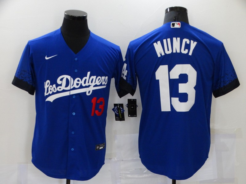 Men's Los Angeles Dodgers #13 Max Muncy Blue 2021 City Connect Number Cool Base Stitched Jersey