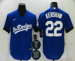 Men's Los Angeles Dodgers #22 Clayton Kershaw Blue #2 #20 Patch City Connect Cool Base Stitched Jersey