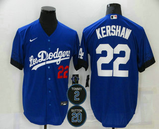 Men's Los Angeles Dodgers #22 Clayton Kershaw Blue #2 #20 Patch City Connect Number Cool Base Stitched Jersey