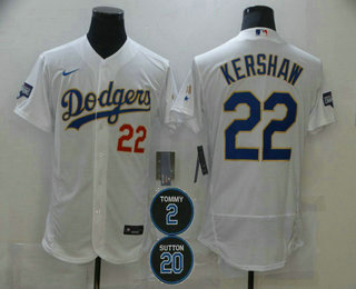 Men's Los Angeles Dodgers #22 Clayton Kershaw White Gold #2 #20 Patch Stitched MLB Flex Base Nike Jersey