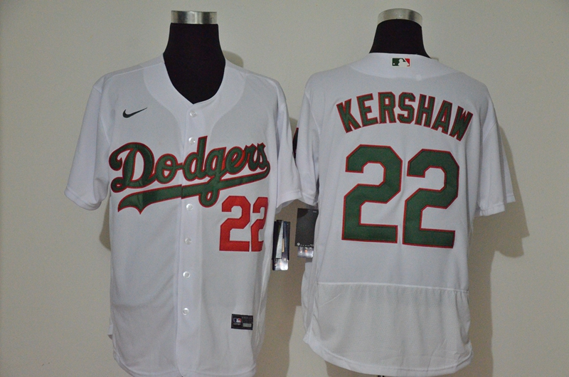 Men's Los Angeles Dodgers #22 Clayton Kershaw White With Green Name Stitched MLB Flex Base Nike Jersey
