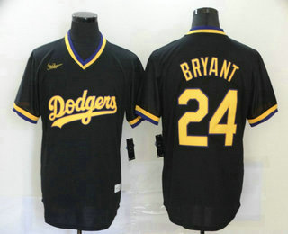 Men's Los Angeles Dodgers #24 Kobe Bryant Black Stitched Pullover Throwback Nike Jersey