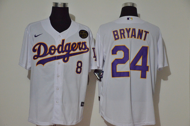Men's Los Angeles Dodgers #24 Kobe Bryant White KB Patch Stitched MLB Cool Base Nike Jersey With front Number 8